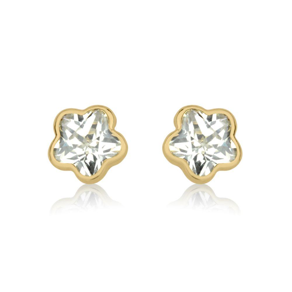 תכשיטים מזהב לילדות | עגילי זהב צמודים -  כוכב הערב