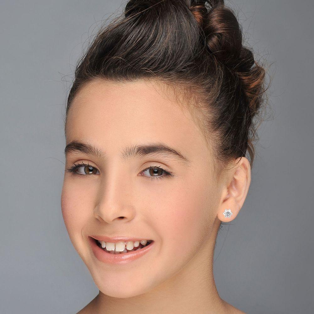 תכשיטים מזהב לילדות | עגילי זהב צמודים -  כוכב מנצנץ גדול