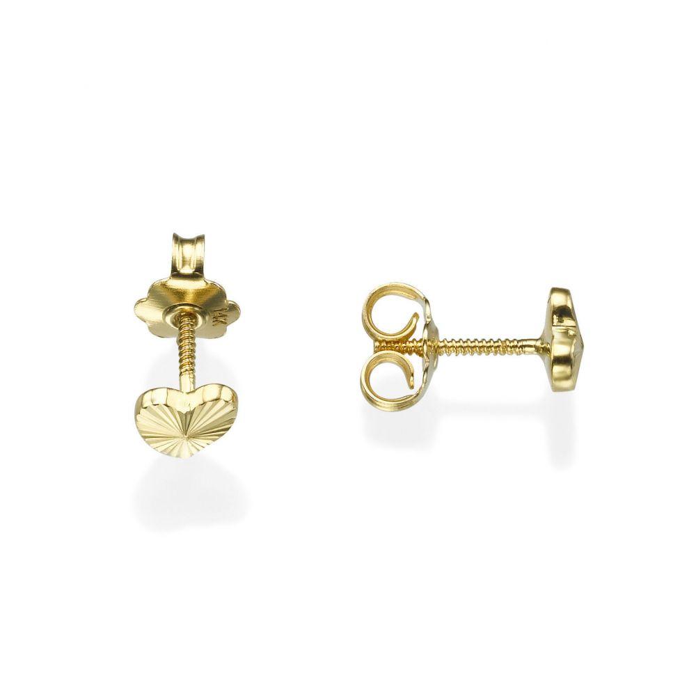תכשיטים מזהב לילדות | עגילי זהב צמודים -  לב משמעותי