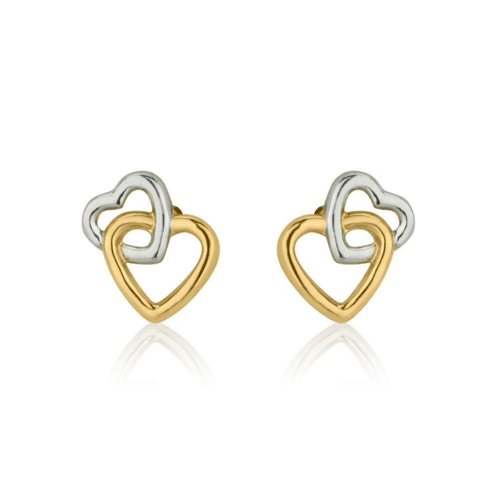 תכשיטים מזהב לילדות | עגילי זהב צמודים -  לבבות בשני צבעים