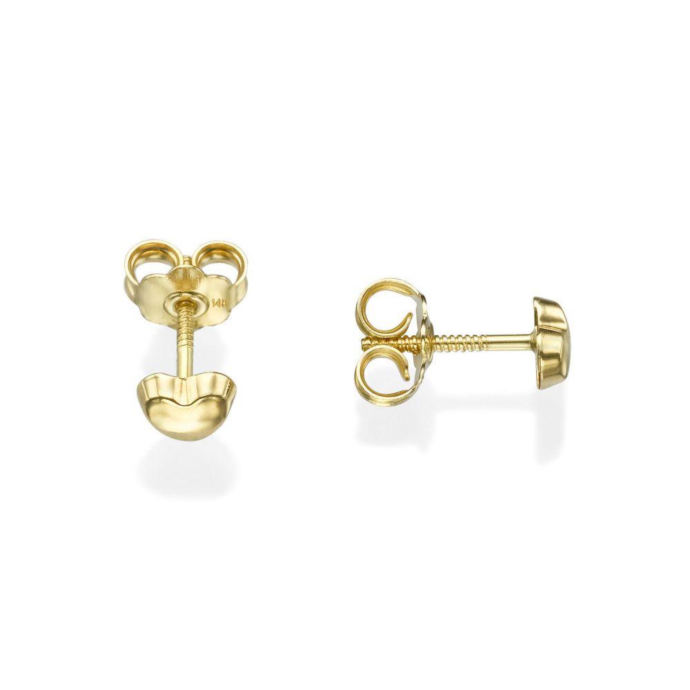 תכשיטים מזהב לילדות | עגילי זהב צמודים -  לב קלאסי-קטן
