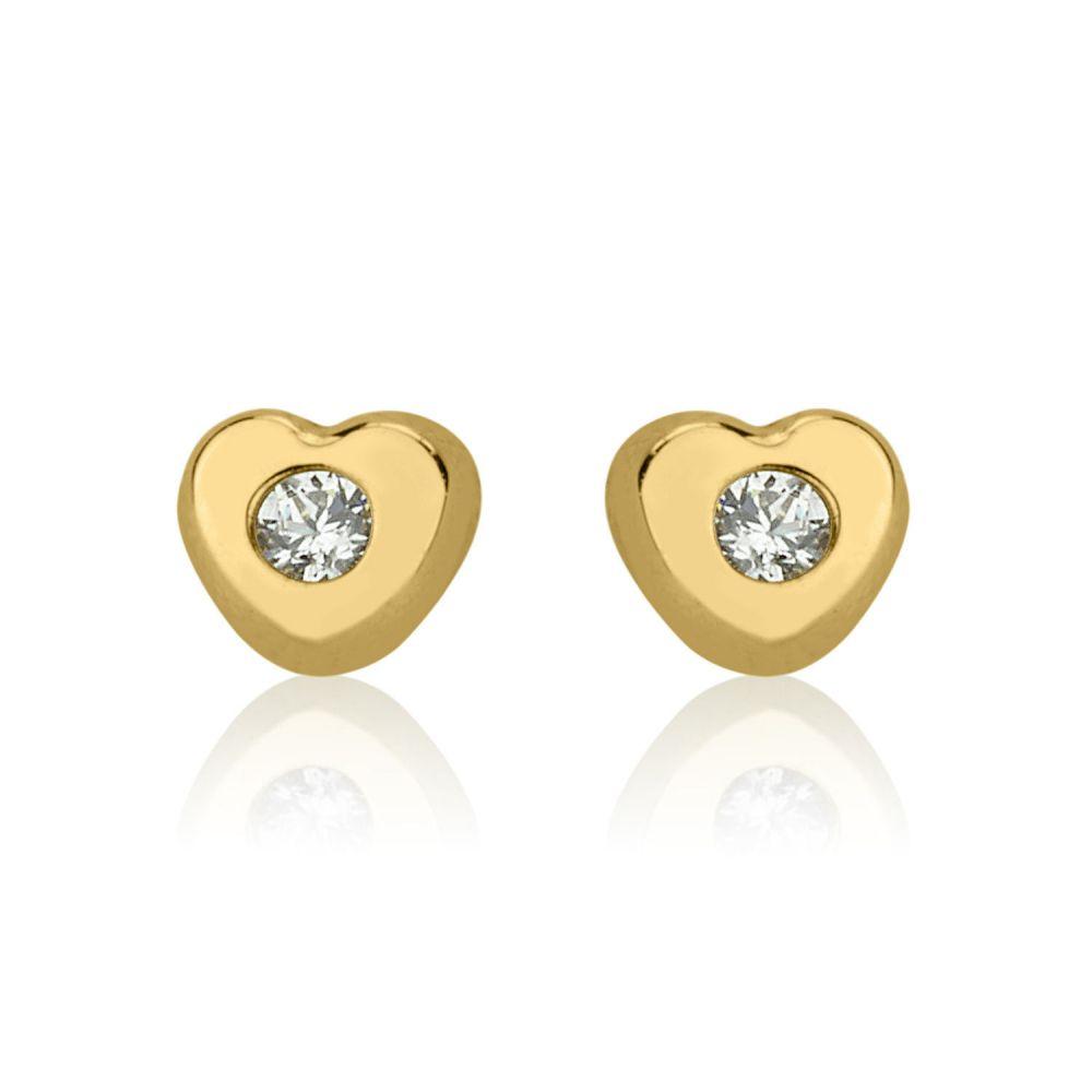 תכשיטים מזהב לילדות | עגילי זהב צמודים -  לב מנצנץ-קטן