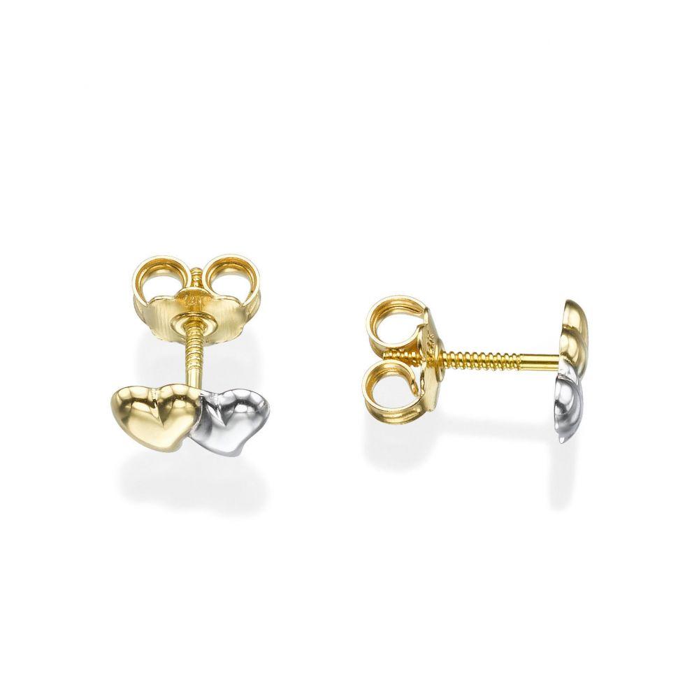 תכשיטים מזהב לילדות | עגילי זהב צמודים -  לבבות משיקים