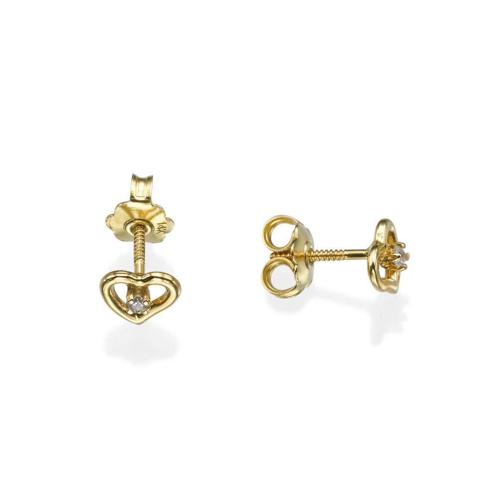 תכשיטים מזהב לילדות | עגילי זהב צמודים -  לב פיוטי