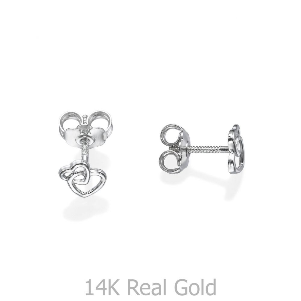 תכשיטים מזהב לילדות | עגילי זהב צמודים -  לבבות משולבים