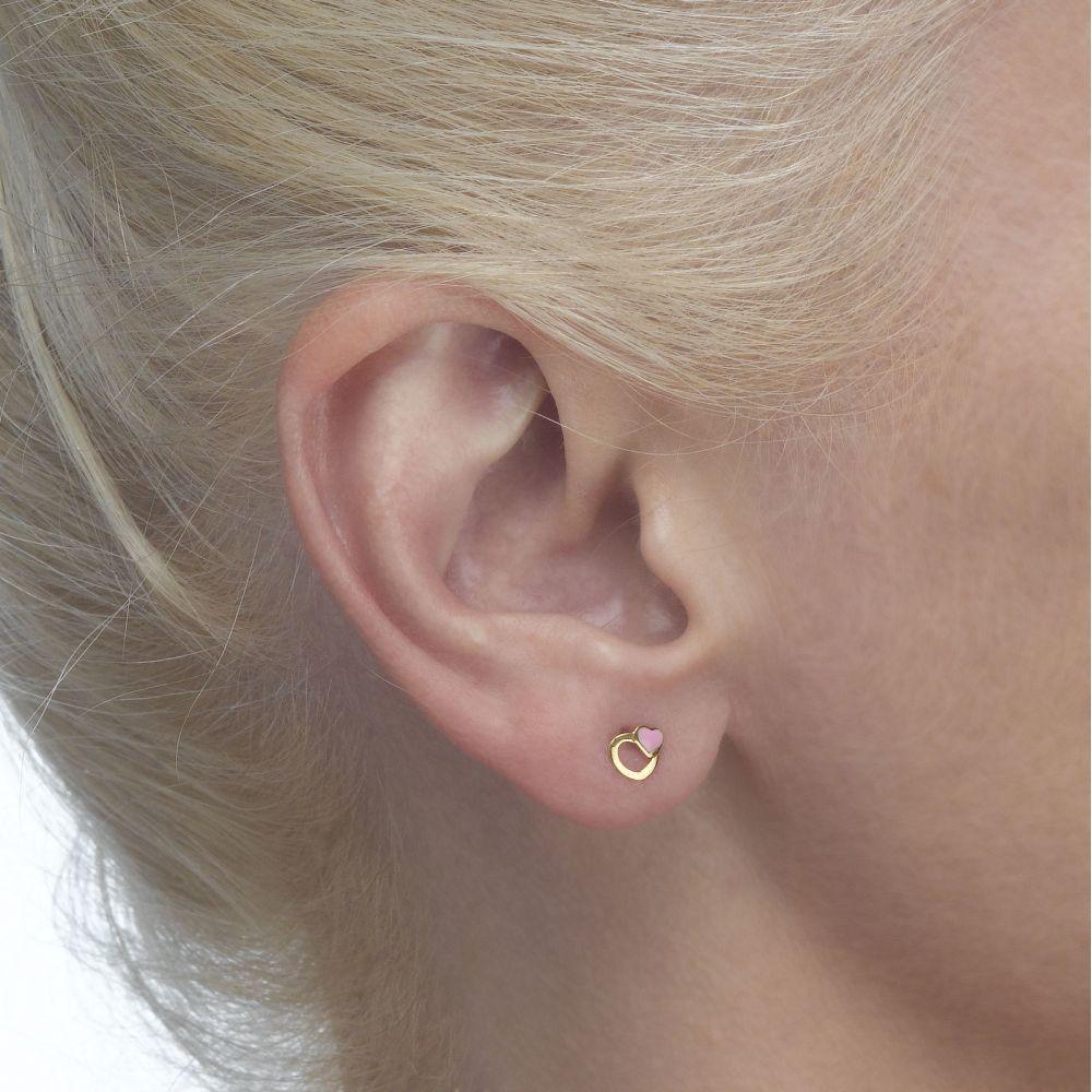 תכשיטים מזהב לילדות | עגילי זהב צמודים -  לבבות אופטימיים
