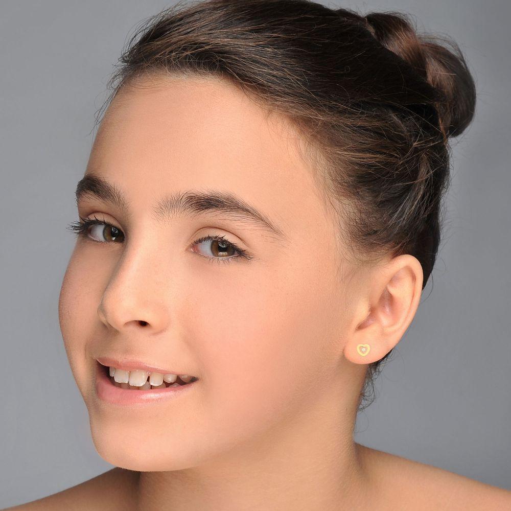 תכשיטים מזהב לילדות   עגילי זהב צמודים -  לב מלוכד