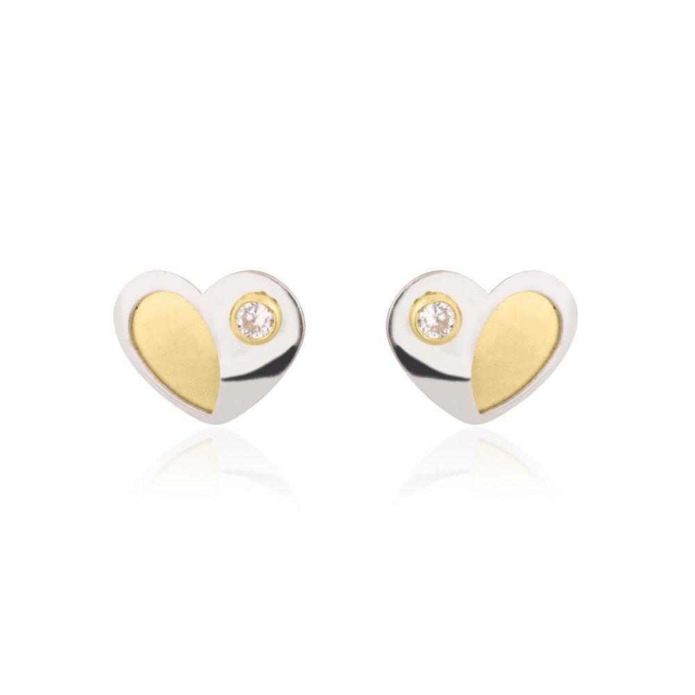 תכשיטים מזהב לילדות | עגילי זהב צמודים -  לב פופסי