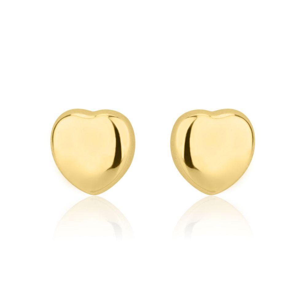 תכשיטים מזהב לילדות | עגילי זהב צמודים -  לב קלאסי חלק