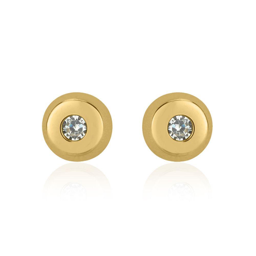 תכשיטים מזהב לילדות | עגילי זהב צמודים -  עיגול יפעה קטן