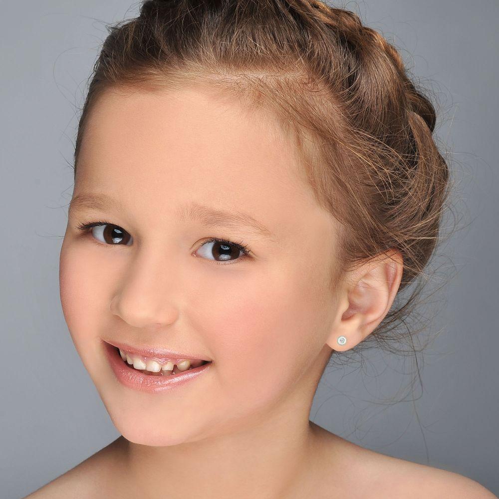 תכשיטים מזהב לילדות | עגילי זהב לבן צמודים -  עיגול יפעה קטן