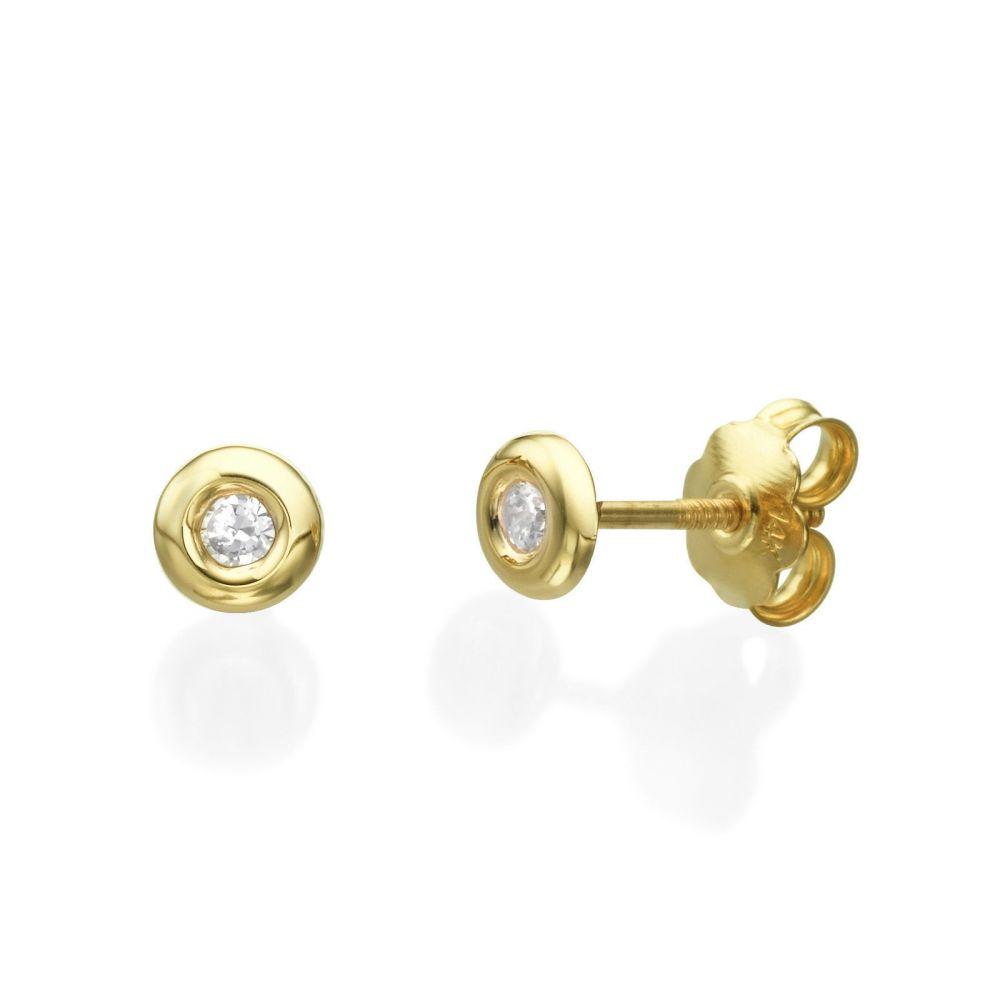 תכשיטים מזהב לילדות | עגילי זהב צמודים -  עיגול יפעה-גדול