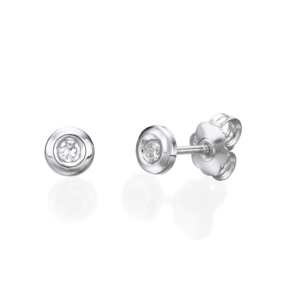 תכשיטים מזהב לילדות | עגילי זהב לבן צמודים -  עיגול יפעה-גדול