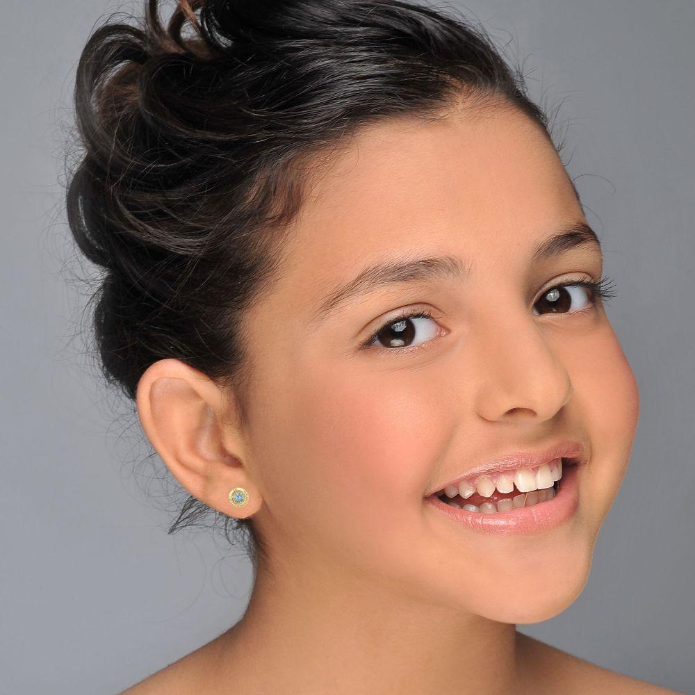 תכשיטים מזהב לילדות | עגילי זהב צמודים -  עיגול טופזית