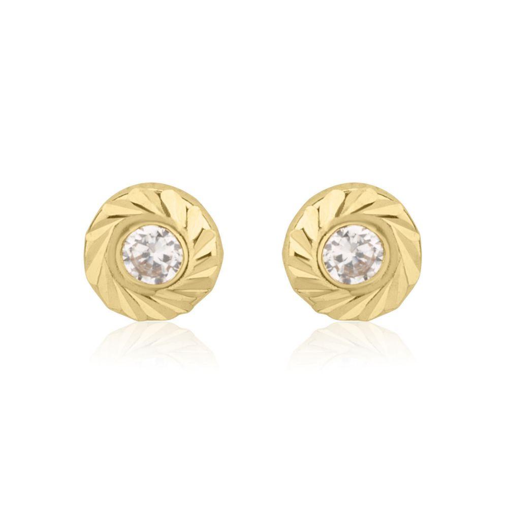 תכשיטים מזהב לילדות | עגילי זהב צמודים -  עיגול קטיה-קטן