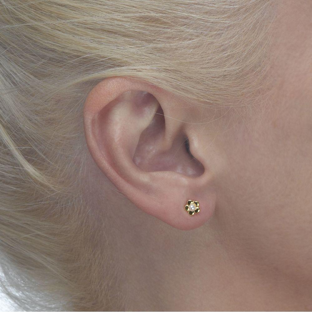 תכשיטים מזהב לילדות | עגילי זהב צמודים -  פנינה פורחת