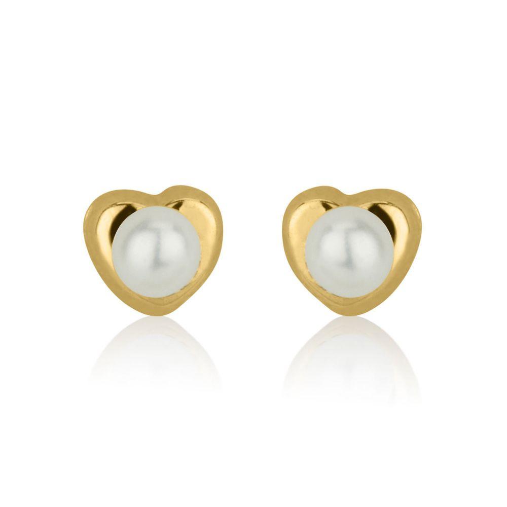 תכשיטים מזהב לילדות | עגילי זהב צמודים -  פנינה מלבבת-קטן