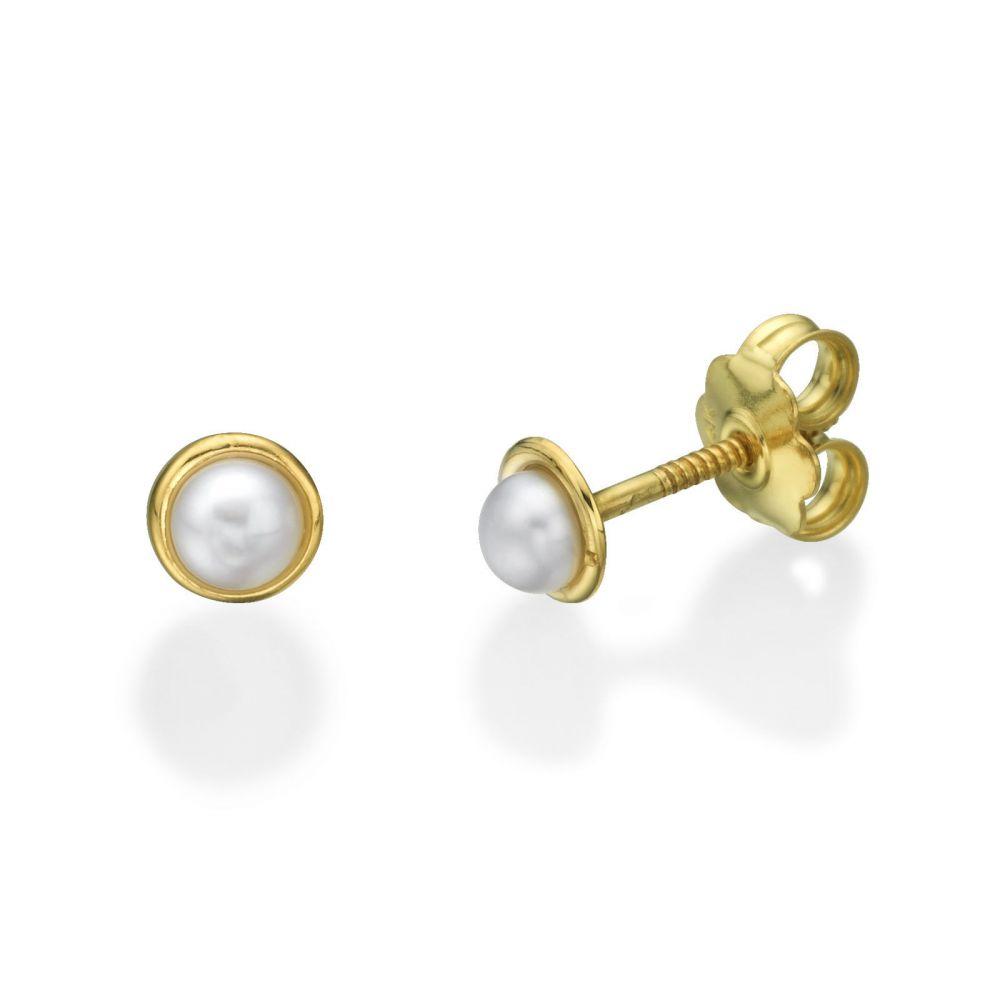 תכשיטים מזהב לילדות | עגילי זהב צמודים -  פנינה חיבוק הזהב - קטן