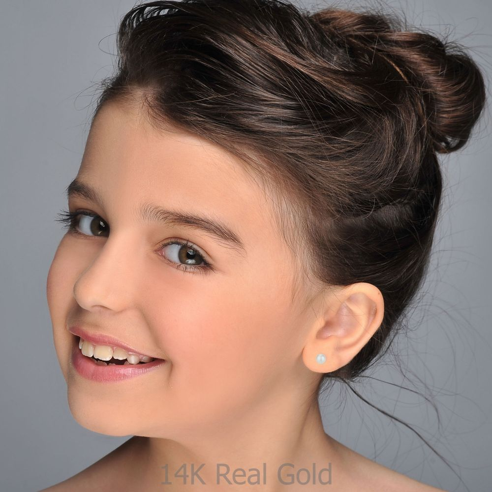 תכשיטים מזהב לילדות | עגילי זהב צמודים -  פנינה קלאסי