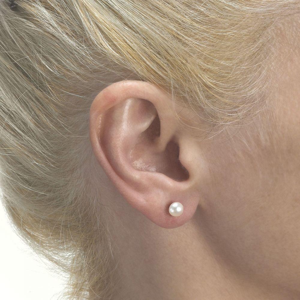 תכשיטים מזהב לילדות | עגילי זהב צמודים -  פנינה קלאסי-גדול