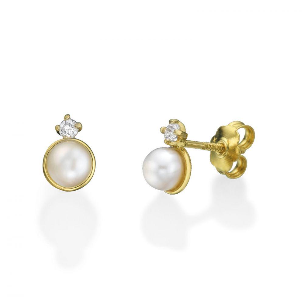 תכשיטים מזהב לילדות | עגילי זהב צמודים -  פנינה חיבוק וקריצה