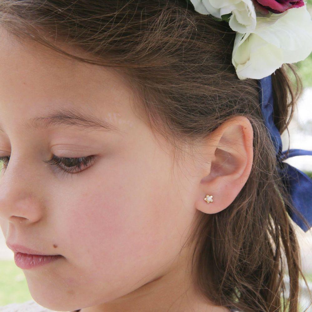 תכשיטים מזהב לילדות | עגילי זהב צמודים -  פנינה כוכבה