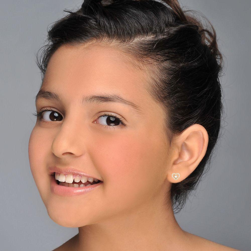 תכשיטים מזהב לילדות | עגילי זהב צמודים -  פנינה מרלין