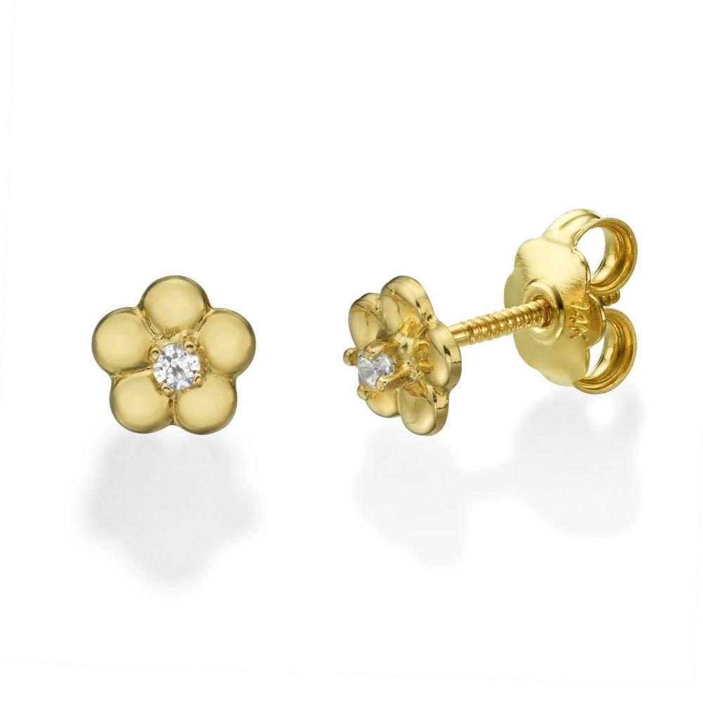 תכשיטים מזהב לילדות | עגילי זהב צמודים -  פרח הלן