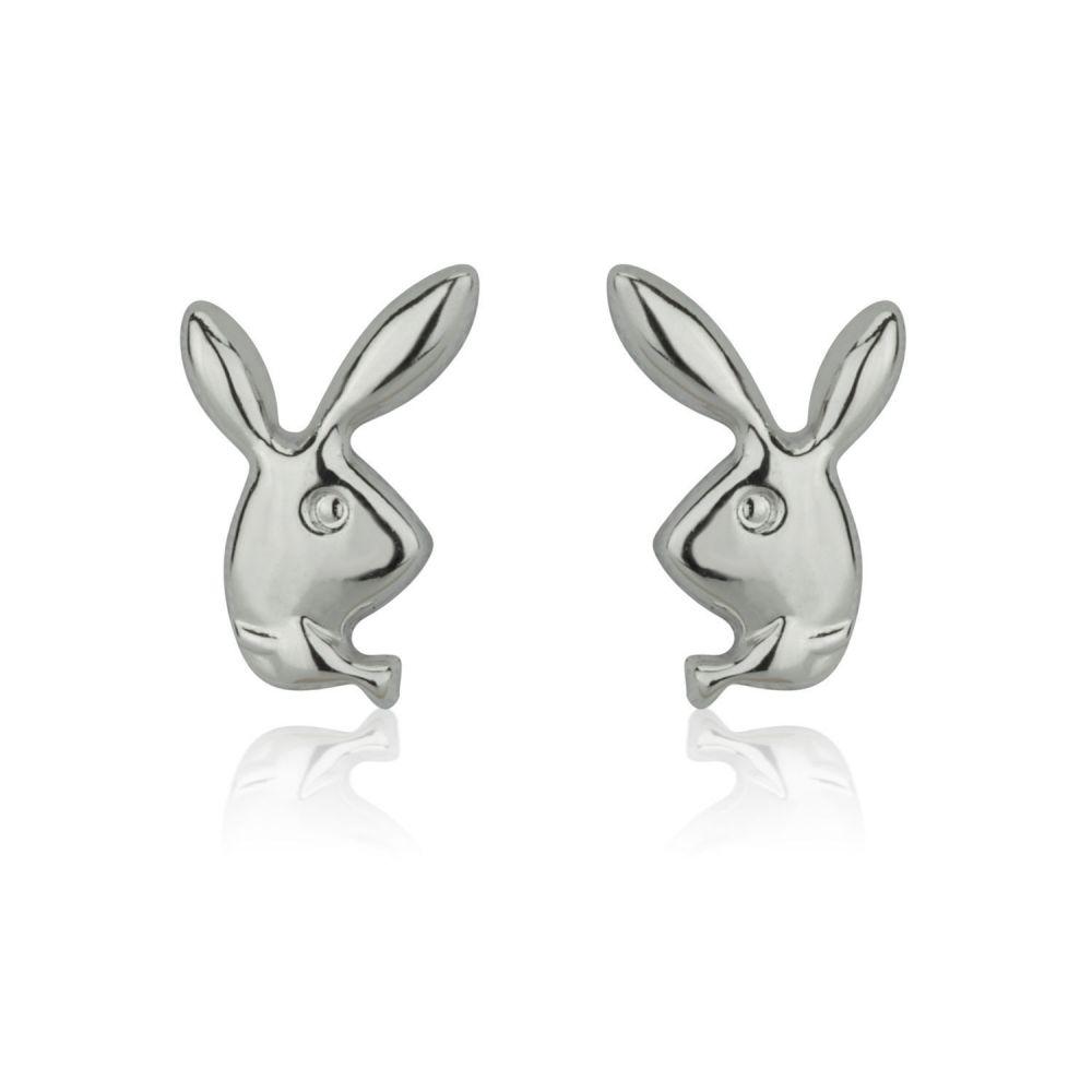 תכשיטים מזהב לילדות | עגילי זהב לבן צמודים -  ארנב מחייך