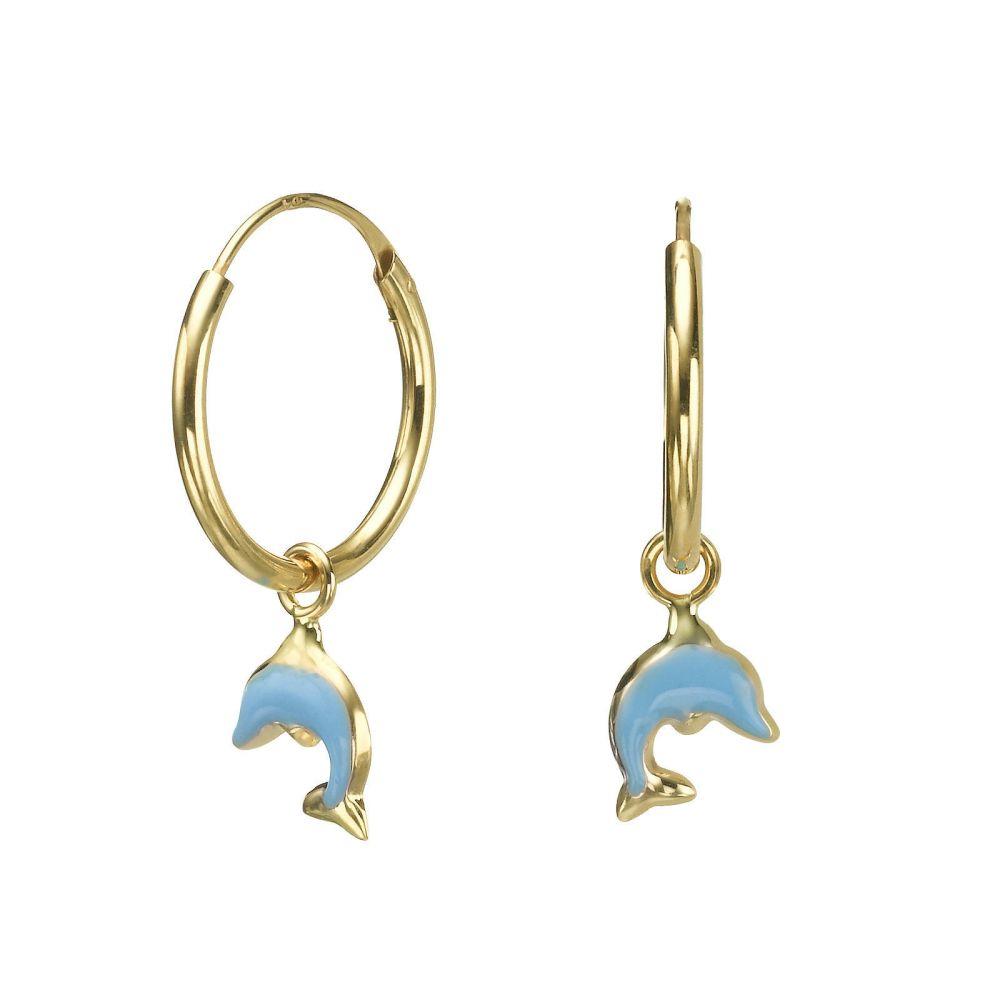 תכשיטים מזהב לילדות   עגילי חישוק תלויים מזהב - דולפין תכלת