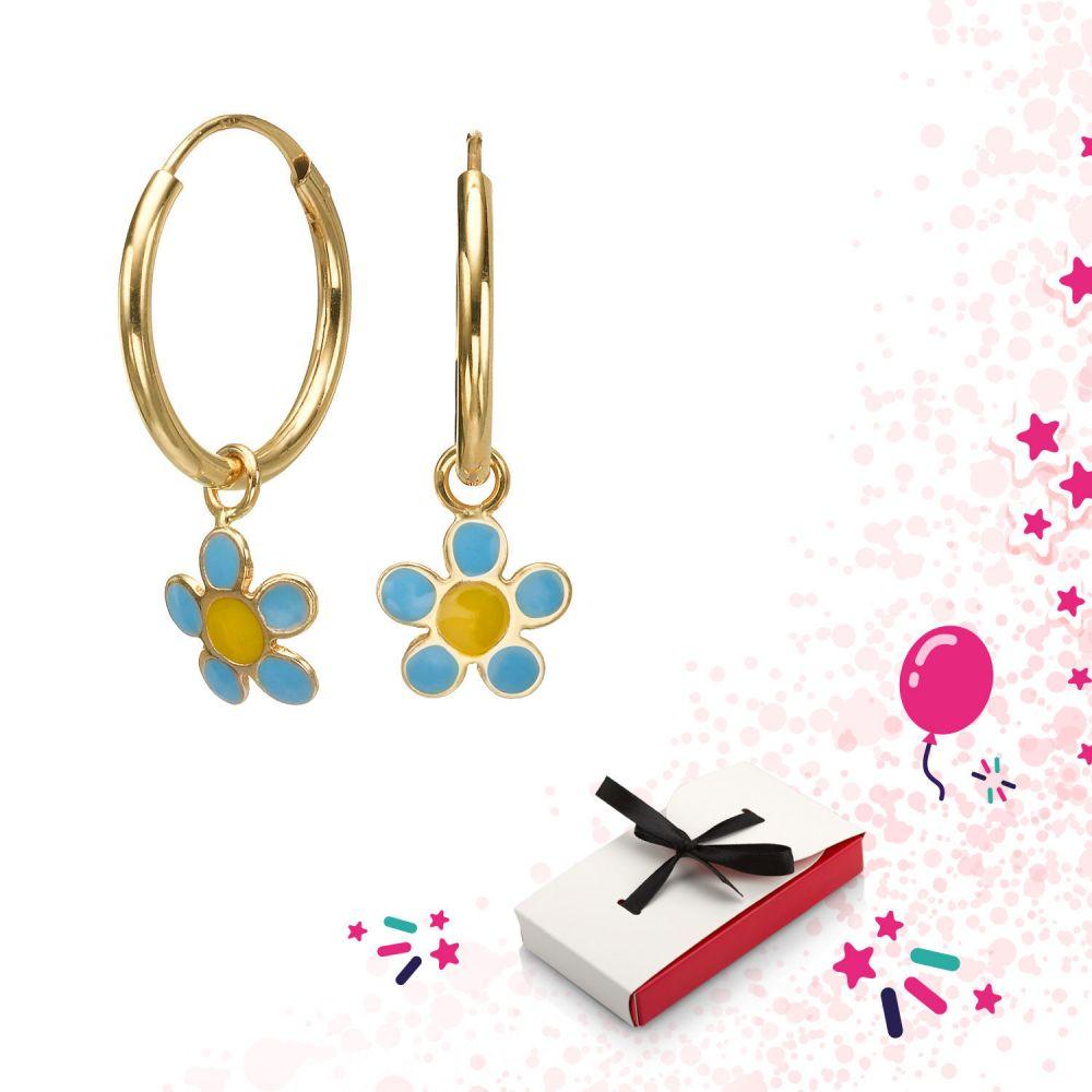 תכשיטים מזהב לילדות   עגילי חישוק תלויים מזהב - פרח סלינה - טורקיז