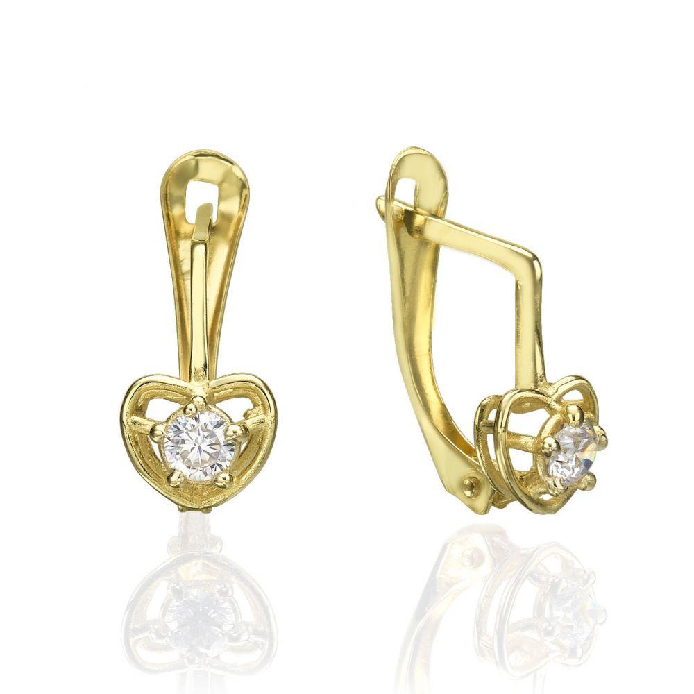 עגילי זהב | עגילי זהב תלויים - לב ענק