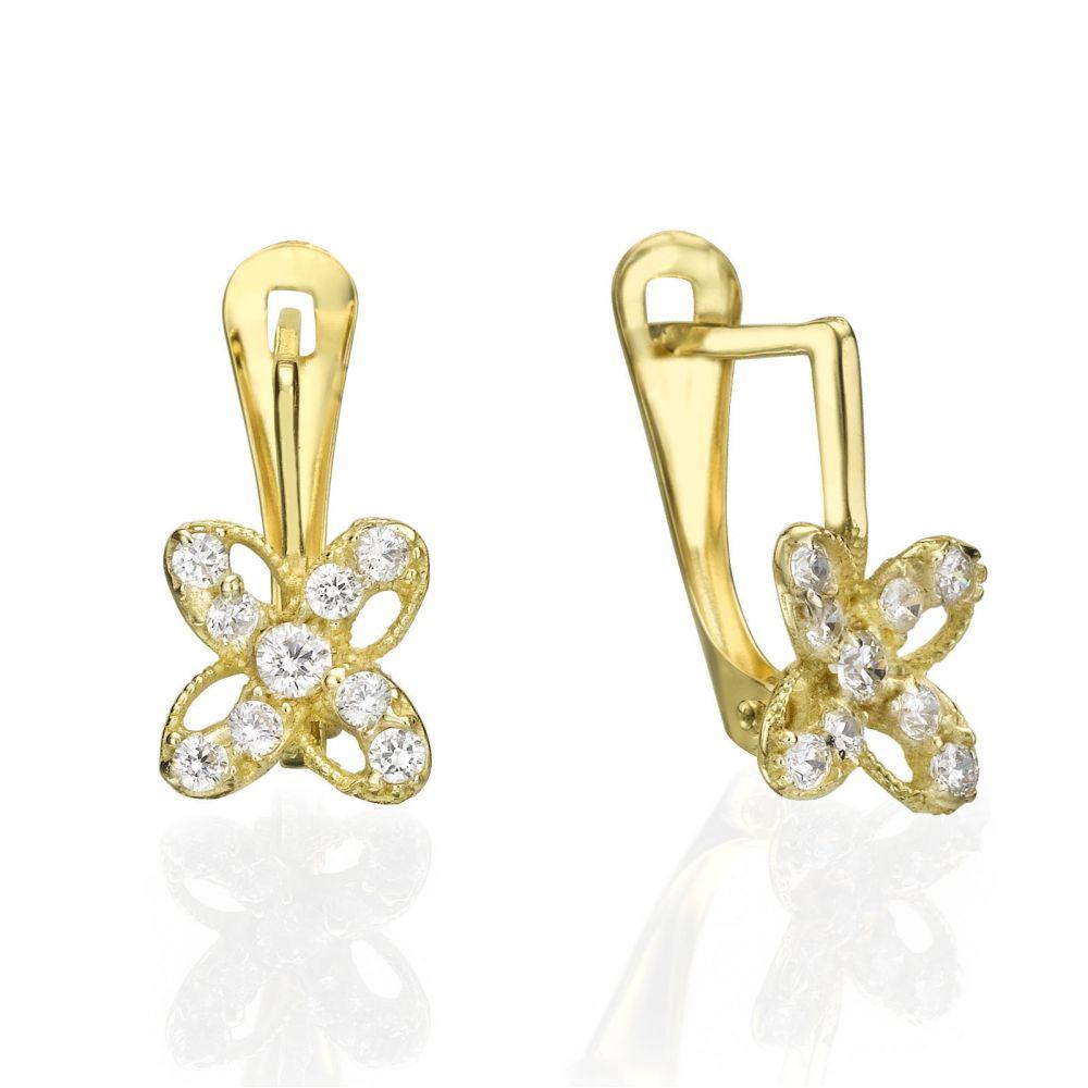 עגילי זהב | עגילי זהב תלויים - פרח יוליה