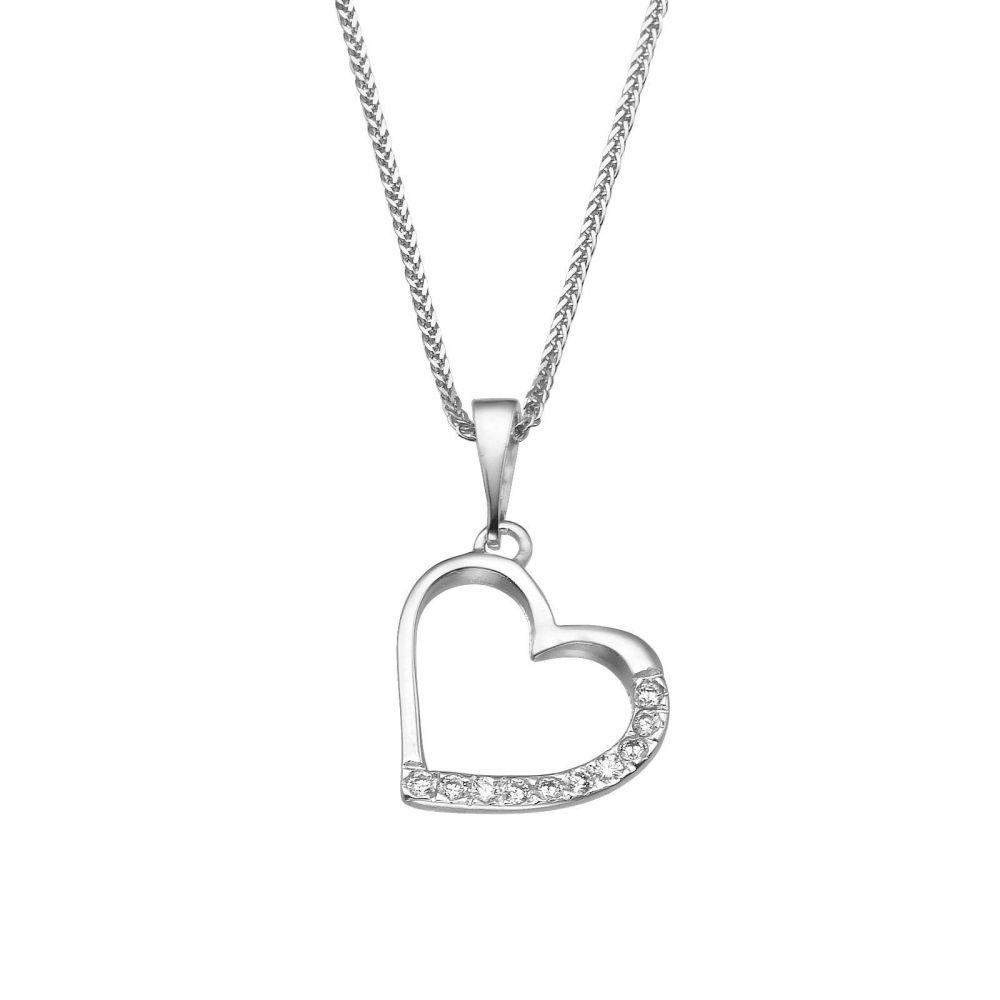 תכשיטי זהב לנשים   תליון מזהב לבן -  לב מנצנץ