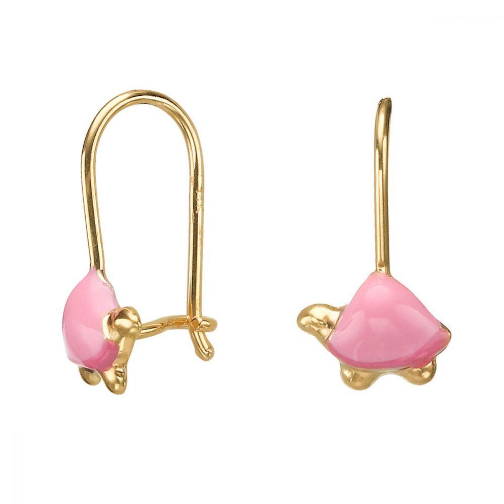 תכשיטים מזהב לילדות | עגילי זהב תלויים - צב צבעוני