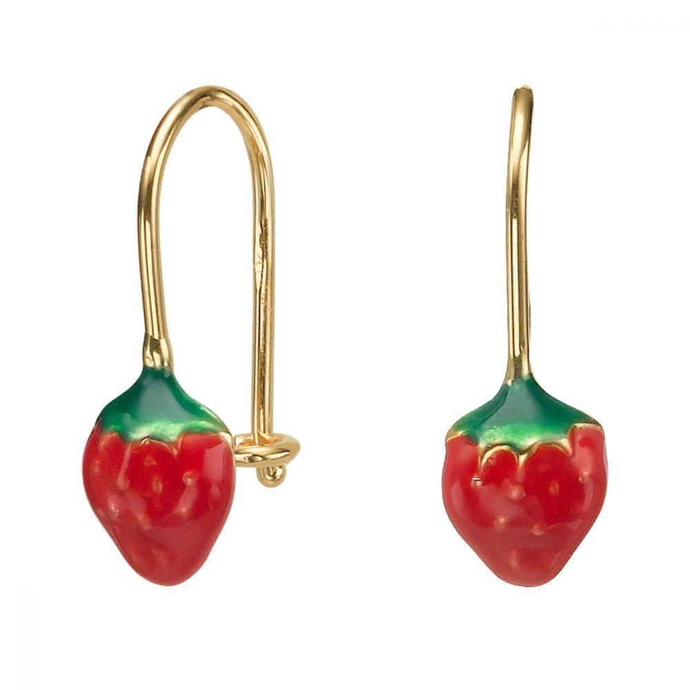תכשיטים מזהב לילדות | עגילי זהב תלויים - תות עדן