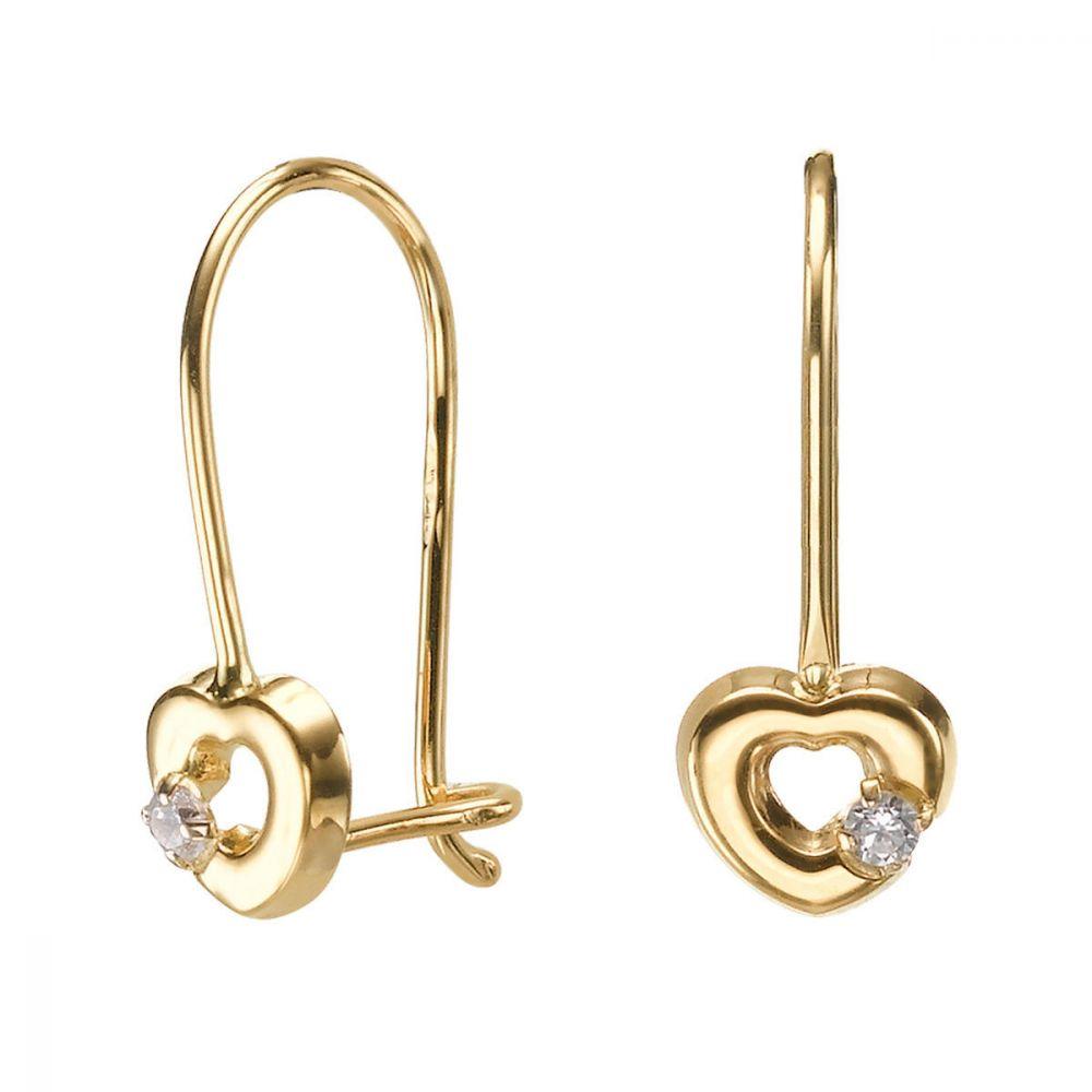תכשיטים מזהב לילדות | עגילי זהב תלויים - לב מייסי