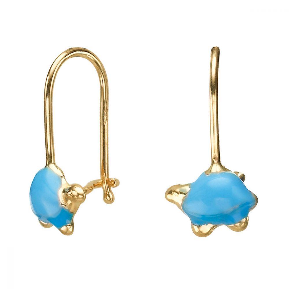תכשיטים מזהב לילדות | עגילי זהב תלויים - צב צבעוני - תכלת