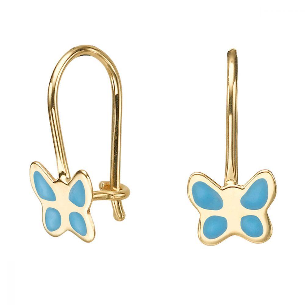 תכשיטים מזהב לילדות | עגילי זהב תלויים - פרפר מהפנט - תכלת