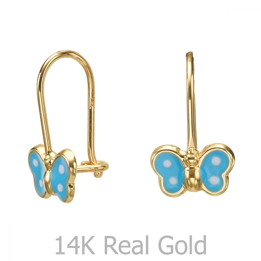 תכשיטים מזהב לילדות | עגילי זהב תלויים - פרפר נועה - תכלת