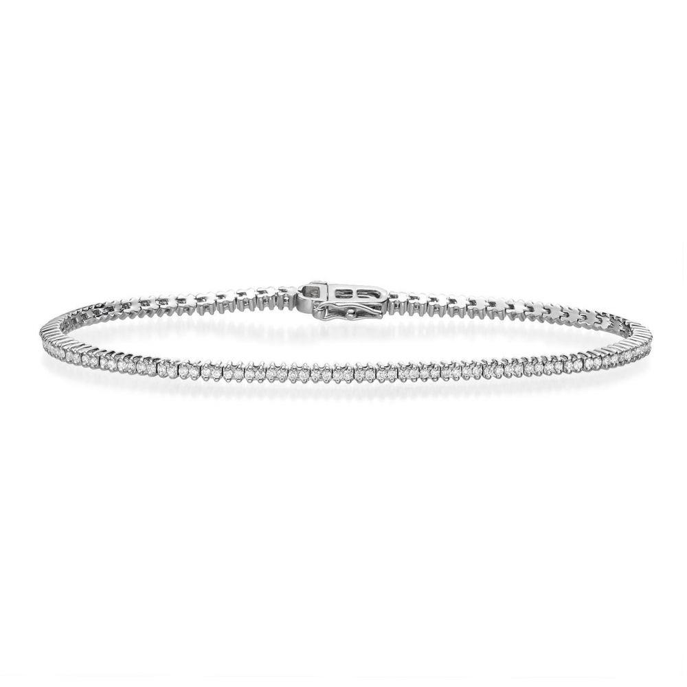 תכשיטי יהלומים | צמיד טניס יהלומים זהב לבן - אליזבת