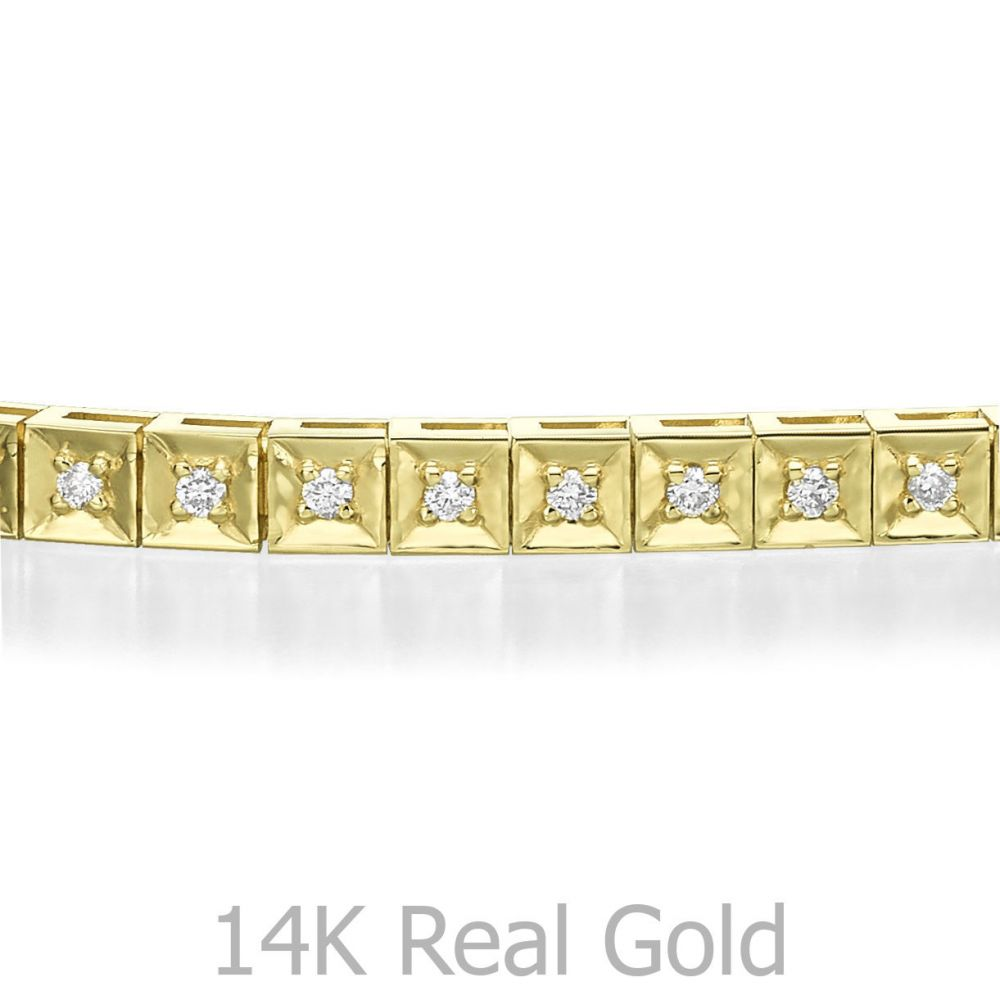 תכשיטי יהלומים | צמיד טניס יהלומים שוקולד זהב צהוב - ג'ניפר