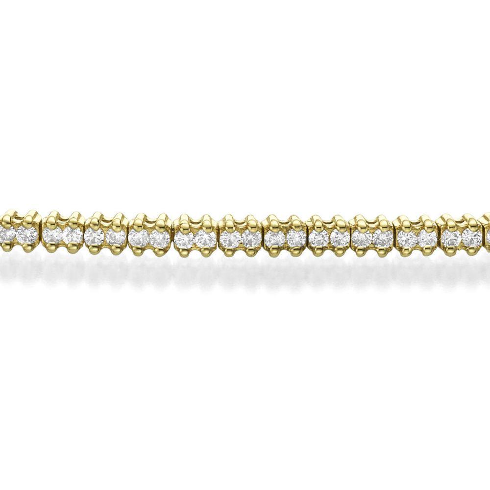 תכשיטי יהלומים | צמיד טניס יהלומים שתי שיניים מזהב - אליזבת