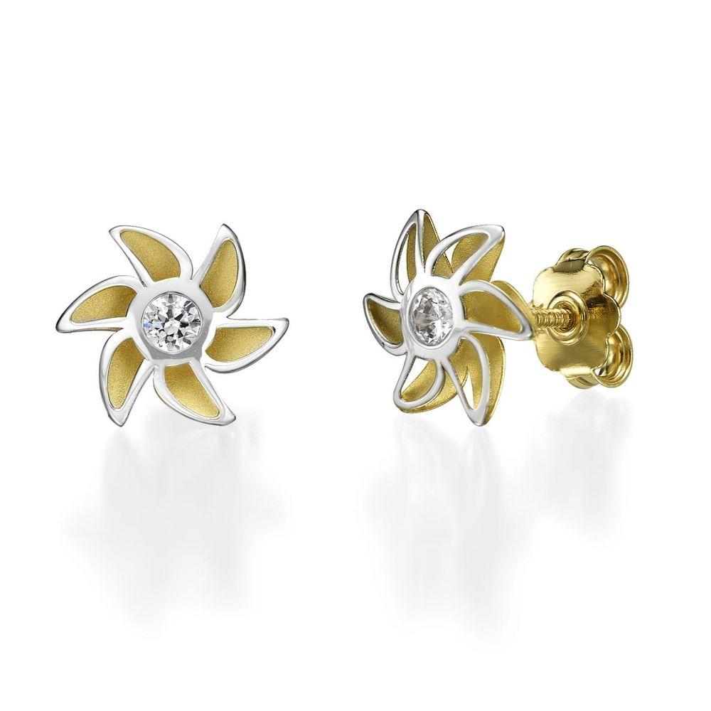 תכשיטים מזהב לילדות | עגילים צמודים מזהב צהוב ולבן - פריחת האהבה