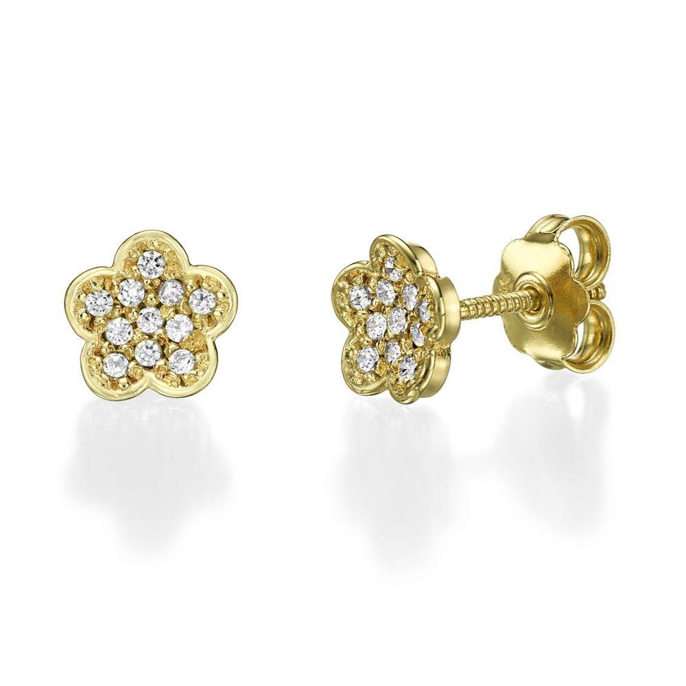 תכשיטים מזהב לילדות | עגילים צמודים מזהב צהוב - פרח אלינור
