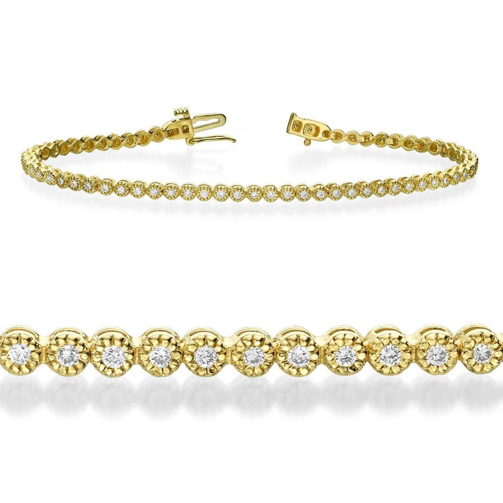 תכשיטי יהלומים | צמיד טניס יהלומים מילנו זהב צהוב - שרלוט