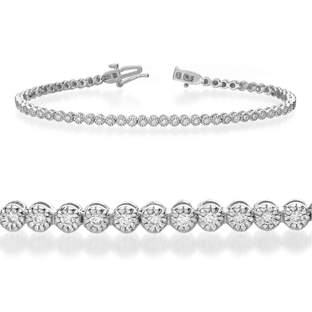 תכשיטי יהלומים   צמיד טניס יהלומים מילנו זהב לבן - שרלוט