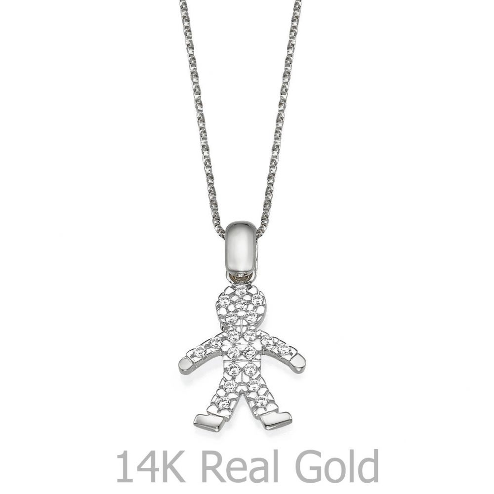 תכשיטי זהב לנשים | תליון מזהב לבן - דני-בוי