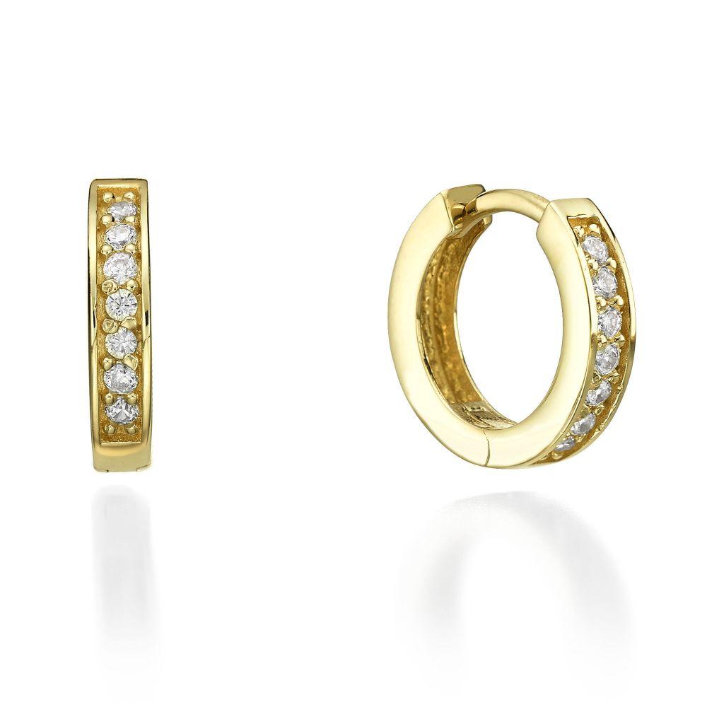 תכשיטי זהב לנשים | עגילי חישוק מזהב צהוב - מונטנה