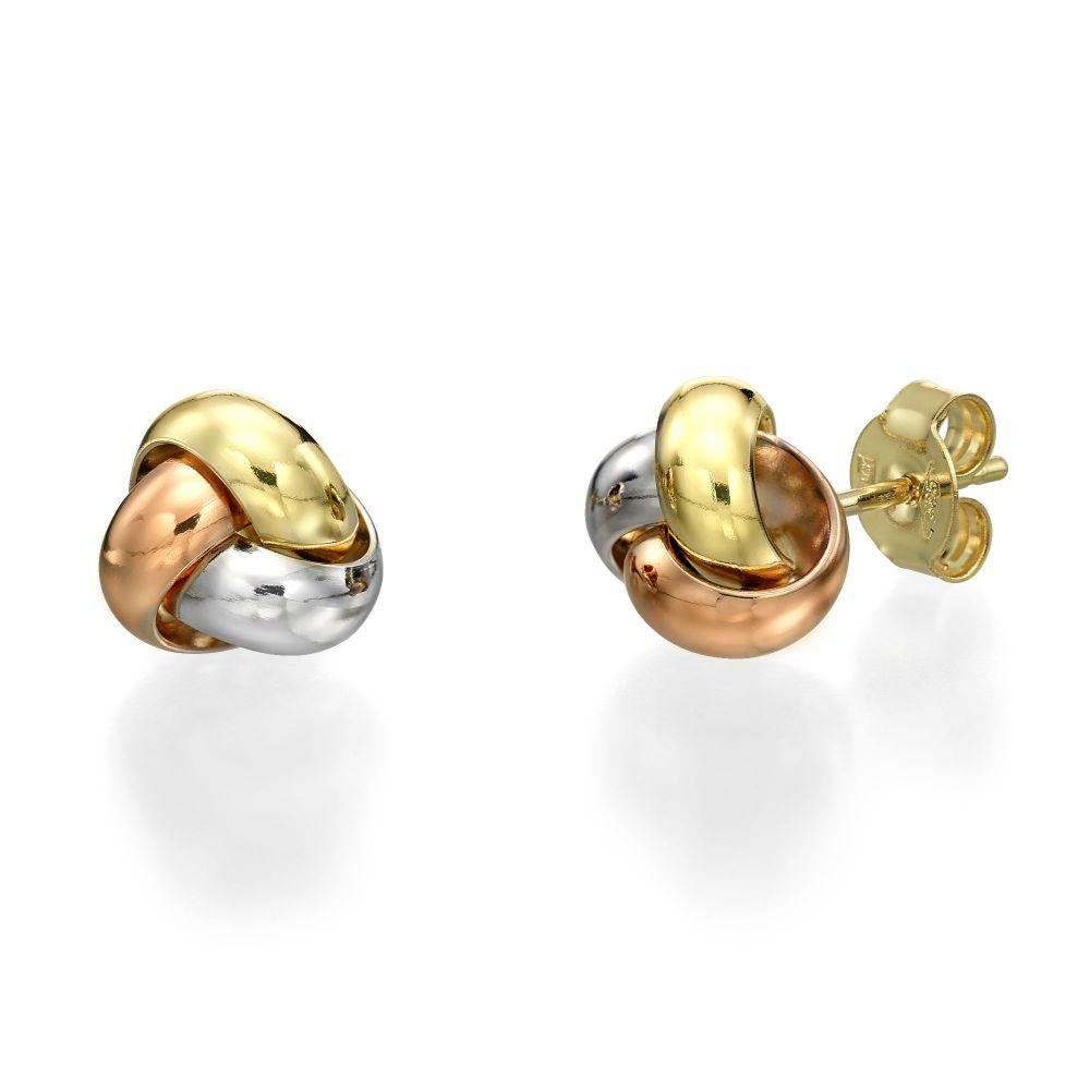 תכשיטי זהב לנשים | עגילים צמודים מזהב משולב - קומפוזיציה